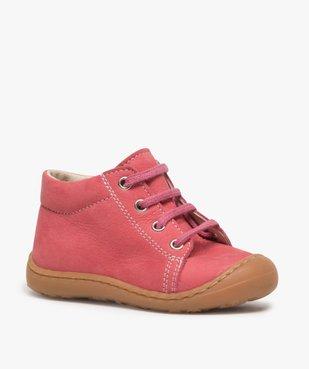 Chaussures premiers pas bébé fille en cuir à lacets vue2 - Nikesneakers(BEBE DEBT) - Nikesneakers