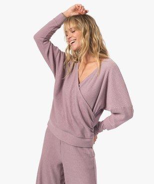 Haut de pyjama femme cache-cœur en maille côtelée extra douce vue1 - GEMO(HOMWR FEM) - GEMO