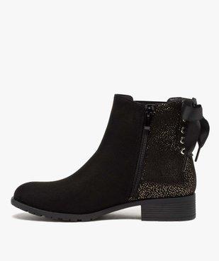 Boots femme chelsea zippées avec ruban sur le contrefort vue3 - GEMO (CASUAL) - GEMO