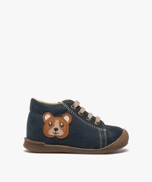 Chaussures premiers pas bébé garçon motif ourson vue1 - GEMO(BEBE DEBT) - GEMO