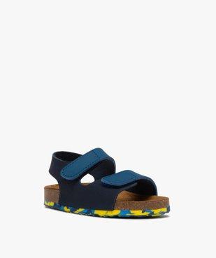 Sandales bébé garçon en cuir bicolore à scratch vue2 - GEMO(BEBE DEBT) - GEMO
