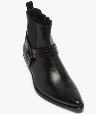 Boots homme unis zippés style santiags vue5 - GEMO(URBAIN) - GEMO