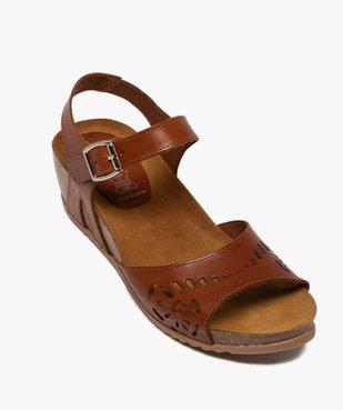 Sandales femme à talon compensé et bride en cuir ajouré vue5 - GEMO(URBAIN) - GEMO