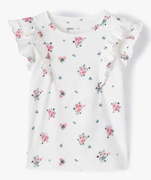 Tee-shirt fille à motifs fleuris et volants sur les épaules vue1 - GEMO C4G FILLE - GEMO