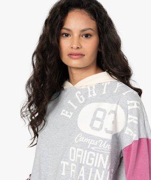 Tee-shirt femme à capuche façon sweat - CAMPS vue2 - CAMPS UNITED - GEMO