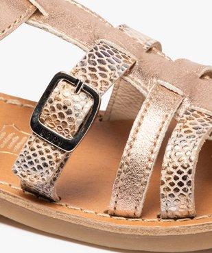 Sandales fille ajustables en cuir métallisé - Bopy vue6 - BOPY - GEMO