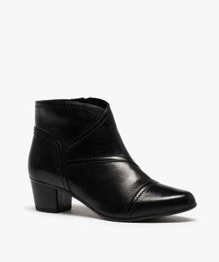 Boots femme à talon dessus cuir uni vue2 - GEMO(URBAIN) - GEMO