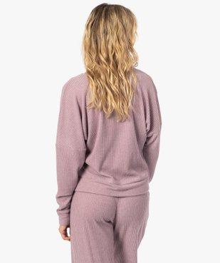 Haut de pyjama femme cache-cœur en maille côtelée extra douce vue3 - GEMO(HOMWR FEM) - GEMO