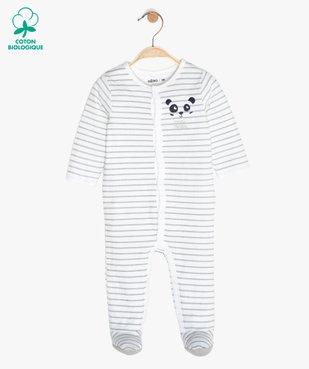 Pyjama bébé garçon à rayures avec motif panda vue1 - GEMO C4G BEBE - GEMO