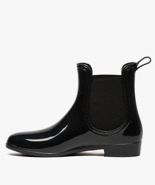 Bottes de pluie unies noires style chelsea boots vue3 - GEMO (EQUIPT) - GEMO