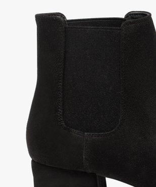 Boots femme unies style chelsea à talon carré vue6 - GEMO (CASUAL) - GEMO
