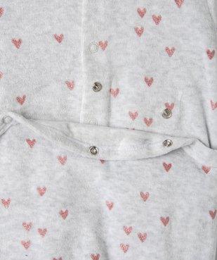 Pyjama bébé fille en velours avec motifs cœurs  vue5 - GEMO(BB COUCHE) - GEMO