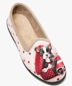 Chaussons femme slippers en velours imprimé bouledogue vue5 - GEMO(HOMWR FEM) - GEMO
