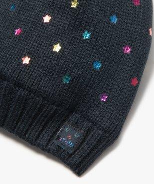 Bonnet bébé fille à pompon, étoiles et doublure chaude vue2 - GEMO(BEBE DEBT) - GEMO
