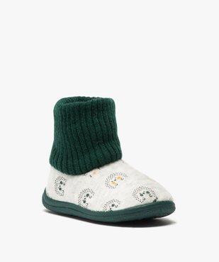 Chaussons bébé garçon boots en maille et velours vue2 - GEMO C4G BEBE - GEMO