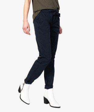 Pantalon femme chino en toile extensible avec ceinture à nouer vue1 - GEMO(FEMME PAP) - GEMO