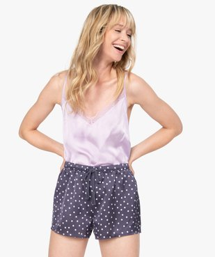 Short de pyjama femme en matière satinée imprimée vue5 - GEMO(HOMWR FEM) - GEMO