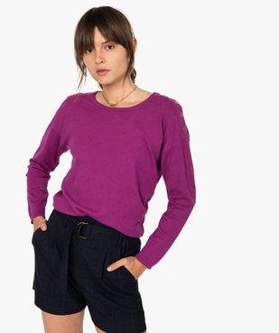 Pull femme  en maille fine avec boutons sur les épaules vue1 - GEMO(FEMME PAP) - GEMO