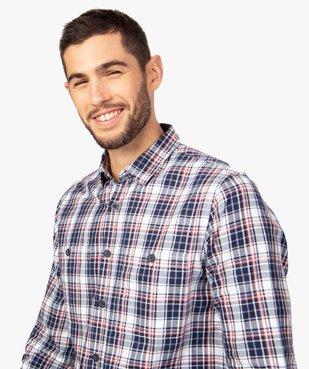 Chemise homme à carreaux et poches poitrine vue2 - GEMO (HOMME) - GEMO