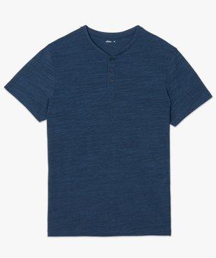 Tee-shirt homme chiné à manches courtes et col tunisien  vue4 - GEMO C4G HOMME - GEMO