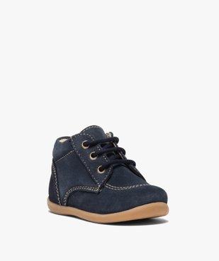 Chaussures premiers pas bébé garçon unies en cuir vue2 - GEMO(BEBE DEBT) - GEMO