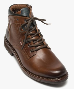 Boots homme zippés à lacets dessus cuir et col rembourré vue5 - GEMO (CASUAL) - GEMO