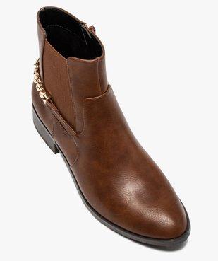 Boots femme unies à talon plat avec chaîne sur l'arrière vue5 - GEMO (CASUAL) - GEMO