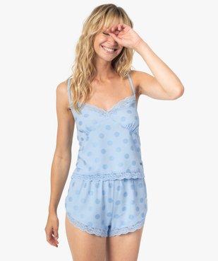 Haut de pyjama femme crop top à fines bretelles et pois - LuluCastagnette vue1 - LULUCASTAGNETTE - GEMO