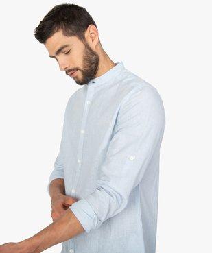 Chemise homme col mao en lin/coton à manches retroussables vue2 - GEMO (HOMME) - GEMO