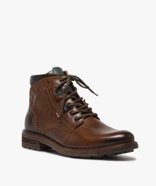 Boots homme zippés à lacets dessus cuir et col rembourré vue2 - GEMO (CASUAL) - GEMO
