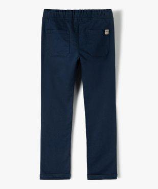 Pantalon garçon en toile extensible avec taille élastiquée vue3 - GEMO (ENFANT) - GEMO