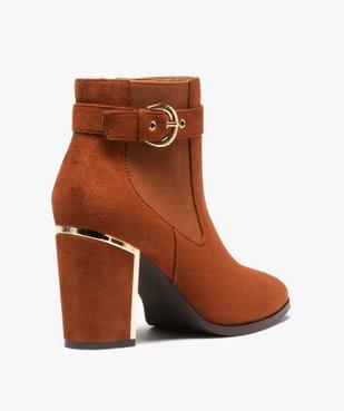 Boots femme à talon unis en suédine détails métallisés vue4 - Nikesneakers(URBAIN) - Nikesneakers