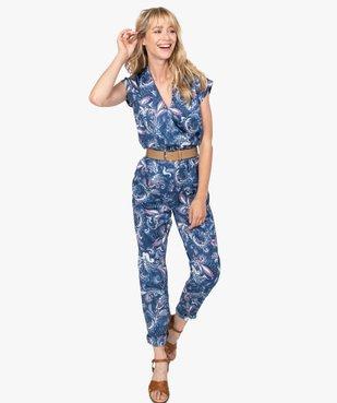 Combinaison pantalon femme imprimée avec ceinture vue1 - GEMO(FEMME PAP) - GEMO