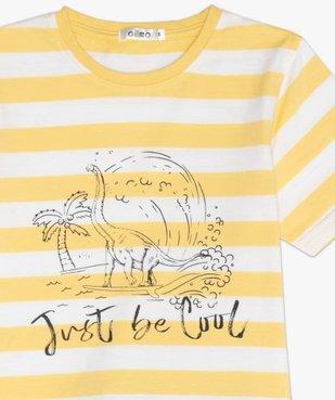 Pyjashort garçon avec haut rayé et motif dinosaure vue3 - GEMO (ENFANT) - GEMO