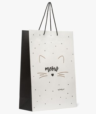 Sac cadeau en papier recyclé imprimé chat et paillettes  vue1 - GEMO C4G FEMME - GEMO