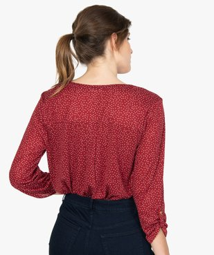 Tee-shirt femme manches 3/4 imprimé à col original vue3 - GEMO C4G FEMME - GEMO