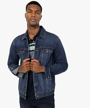 Blouson homme en jean coupe droite vue3 - GEMO (HOMME) - GEMO