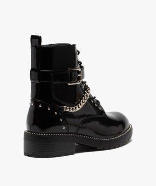 Boots femme vernis à détails métallisés style rock vue4 - GEMO (CASUAL) - GEMO