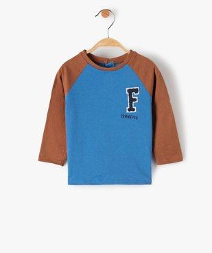 Tee-shirt bébé garçon à manches longues contrastantes vue1 - GEMO(BEBE DEBT) - GEMO