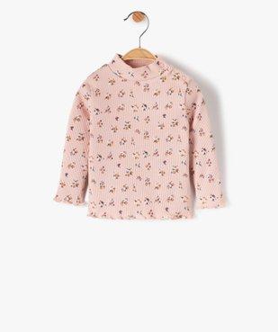 Tee-shirt bébé fille en maille côtelée à motifs fleuris vue1 - GEMO C4G BEBE - GEMO