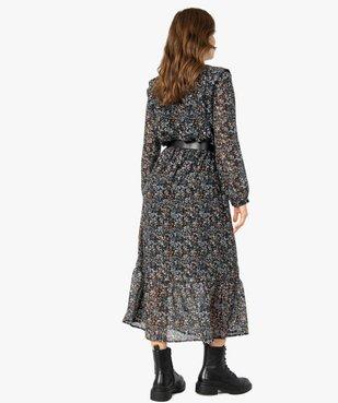Robe femme longue en voile imprimé et grosse ceinture vue3 - Nikesneakers(FEMME PAP) - Nikesneakers