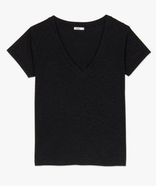 Tee-shirt femme à manches courtes et grand col V vue4 - GEMO(FEMME PAP) - GEMO