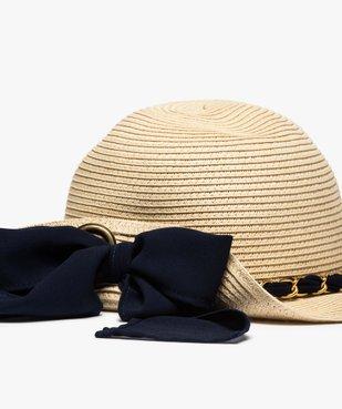 Chapeau de paille femme capeline avec ruban et chainette vue2 - GEMO (ACCESS) - GEMO