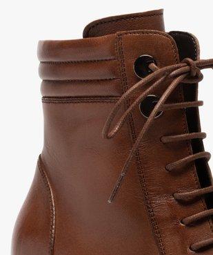 Boots femme unis à talon dessus cuir à lacets vue6 - GEMO(URBAIN) - GEMO
