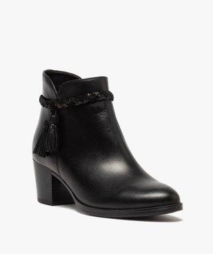 Boots femme unies à talon dessus cuir et bride fantaisie vue2 - GEMO(URBAIN) - GEMO