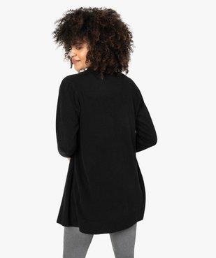 Gilet femme porté ouvert avec col châle côtelé vue3 - GEMO (MAILLE) - GEMO
