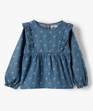 Chemise fille en chambray à motifs fleuris vue1 - GEMO (ENFANT) - GEMO