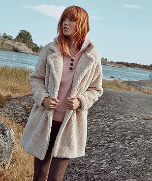 Manteau femme en sherpa fermeture boutons vue1 - GEMO(FEMME PAP) - GEMO