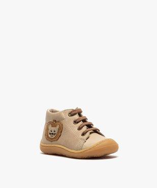 Bottines premiers pas bébé garçon en cuir avec décor lion vue2 - Nikesneakers(BEBE DEBT) - Nikesneakers