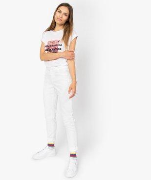 Pantalon femme en toile coupe slim 5 poches vue5 - GEMO (JEAN) - GEMO